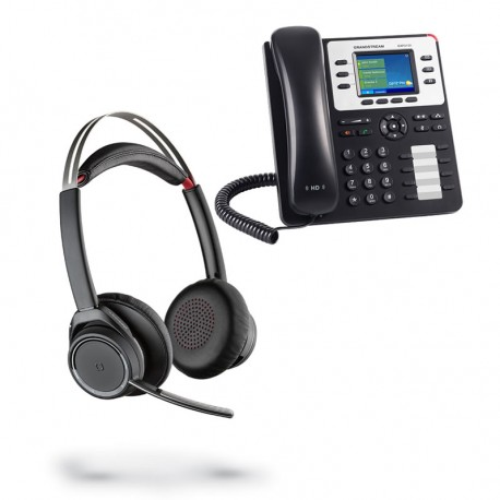 Pack auricular inalámbrico Voyager Focus con teléfono IP GXP2130