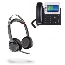 PACK AURICULAR INALÁMBRICO VOYAGER FOCUS CON TELÉFONO IP GXP2140